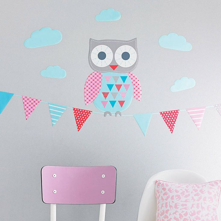 Owl And Bunting Wall Sticker Set from notonthehighstreet.com
