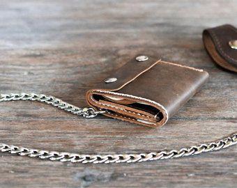 Cadena triple monedero - Billetera - carpeta de cuero del motorista de los hombres - cadena carteras - hombre Varonil carteras--listado # 037