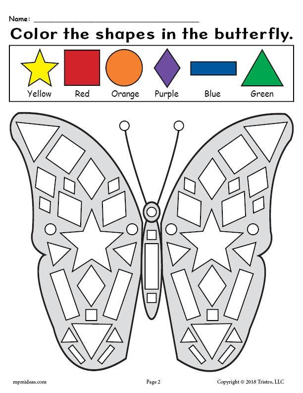 Printable Butterfly Shapes Coloring Pages Shape Coloring Pages