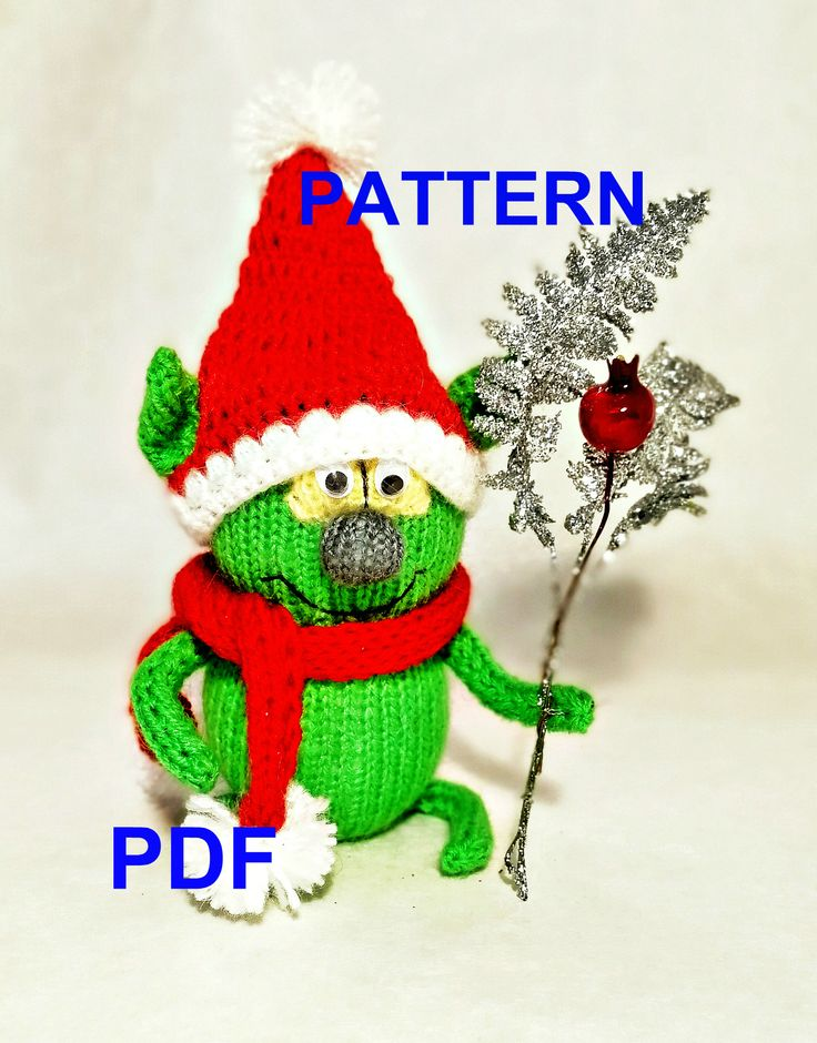 Pattern knit toy amigurumi Grinch, tutorial in PDF format, pattern for knitting, gift for Christmas