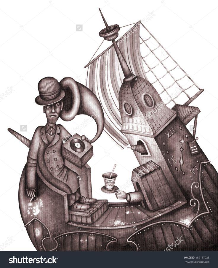 Sailor Man Resting In Boat by Eugene Ivanov. #eugeneivanov #steampunk #science #fiction #fantasy #machinery #victorian #illustration #art #original  #@eugene_1_ivanov