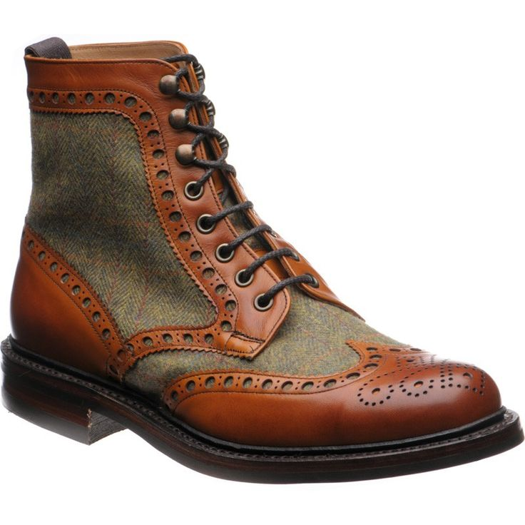 The Exmoor is a re-imagined country brogue boot incorporating chestnut calf and a unique Herring Tweed. Fully made in England even the Tweed is sourced from Fox Bros, the last of England's West Country Tweed mills. Beautiful yet rugged, they embody