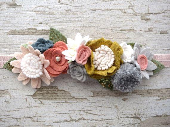Felt Flower Crown Fairy Garland Headband Woodland by nattybratty