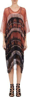 Raquel Allegra Tie-Dye Chiffon T-shirt Dress-Brown - Shop for women's T-shirt - Brown T-shirt