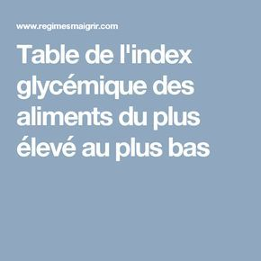 Table de l'index glycémique des aliments du plus élevé au plus bas