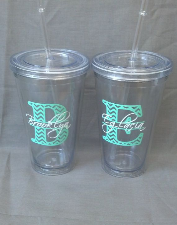 1 bridesmaid tumblers Chevron monogram and by WaterfallDesigns, $11.00