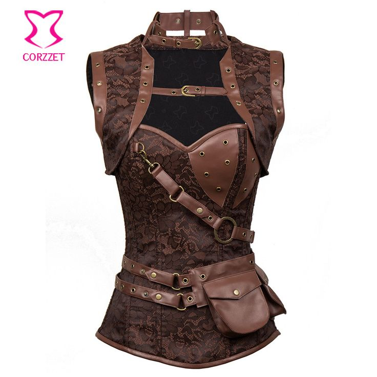 Latex Gothic Clothing Sexy Brown Steel Bone Corset Steampunk Waist slimming Corsets And BustiersTop Women Corpetes E Espartilhos Isn`t it awesome? Visit us