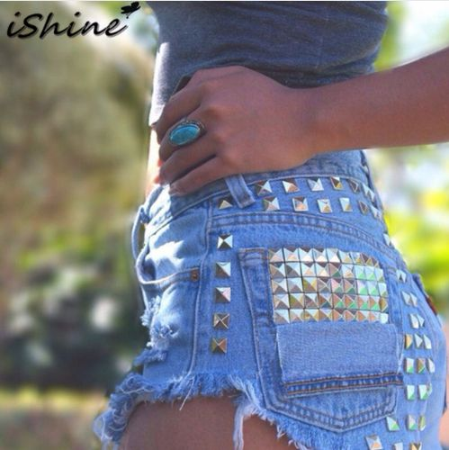 2017 Plus size Womens Vintage Tassel Rivets Ripped hole Loose High Waist Short Jeans Punk Sexy Hot Woman Denim Shorts