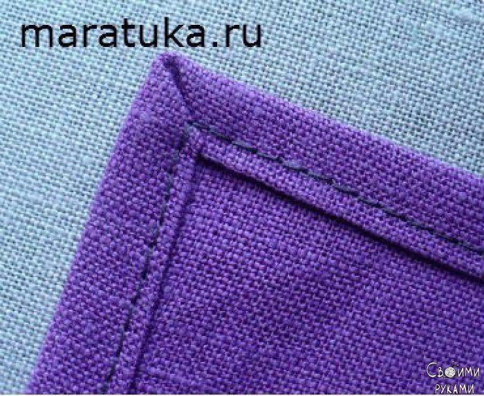 Обработка прямого угла срезов ткани