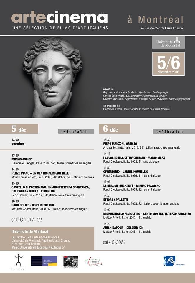 #ARTECINEMA à #Montréal. Une sélection de films d'#art italiens, sous la direction de Laura Trisorio. 5 / 6 décembre 2016. Université de Montréal - le carrefour des arts et des sciences.