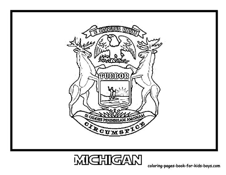 oct 14 &  michigan state flag  flag coloring pages