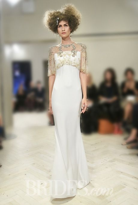 """Brides: Badgley Mischka Bride - Fall 2014 """"Lauren"""" ivory sheath wedding dress with gold and silver beaded illusion bodice, high neckline, and short sleeves, Badgley Mischka Bride Featured In: Badgley Mischka Bride - Fall 2014"""