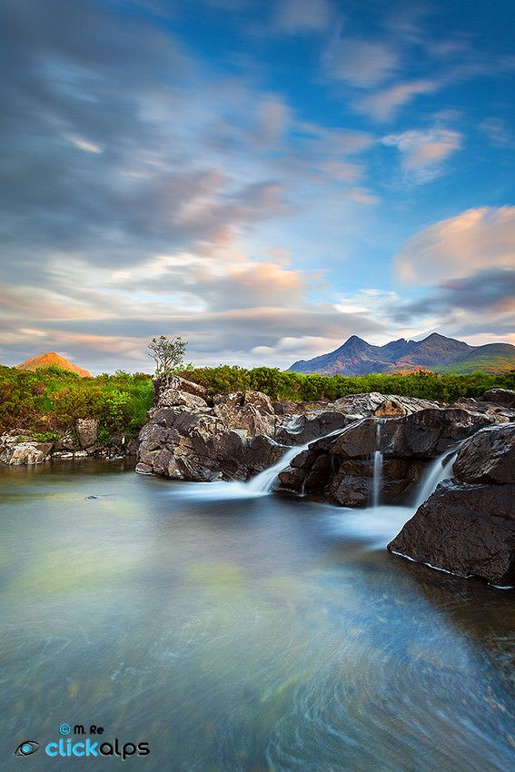 """Sligachan"" Isle of Skye - Scotland - Sligachan (Scottish Gaelic: Sligeachan) is a small settlement on Skye, Scotland. It is close to the Cuillin mountains and provides a good viewpoint for seeing the Black Cuillin mountains."
