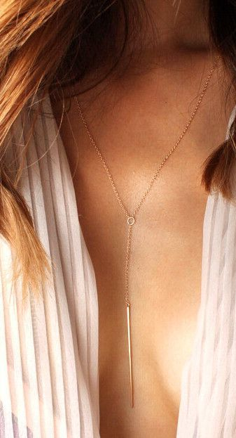 Trendy Gold Vertical Bar Necklace Body Jewelry