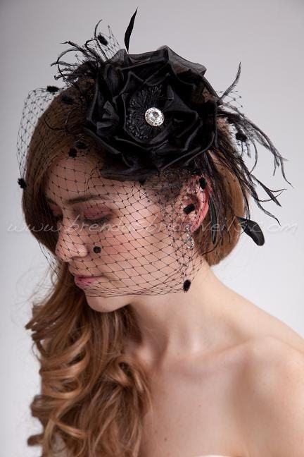 Bridal Birdcage Veil Black Chenille Dot Wedge with Black Silk Flower, Fly-Away Netting and Rivoli Crystal Rhinestone Center