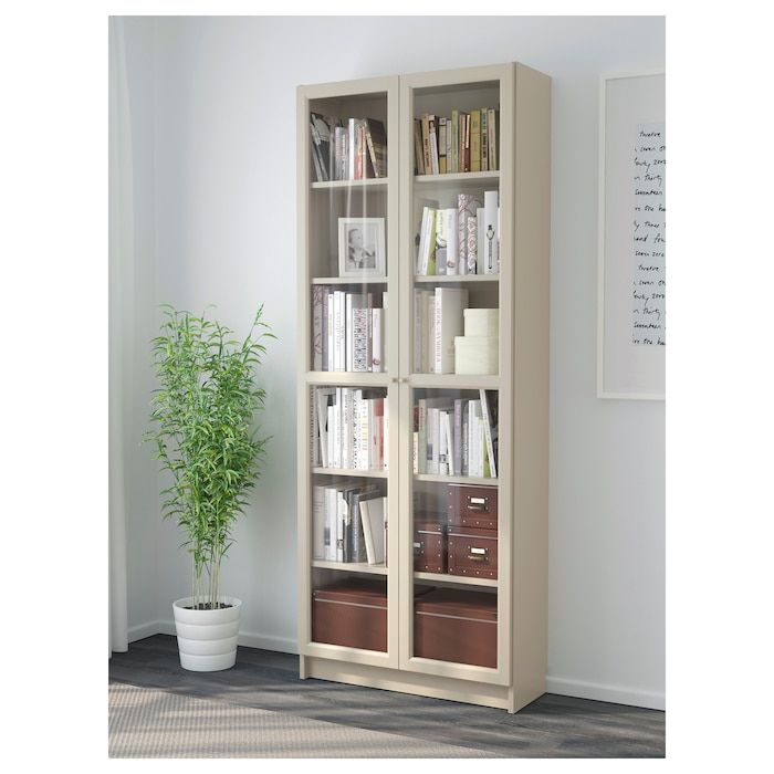 Billy Bucherregal Mit Glasturen Beige Ikea Deutschland In 2020 Bookcase With Glass Doors Bookcase Glass Door