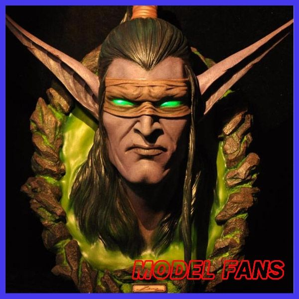 620.00$  Buy here - http://alizpm.worldwells.pw/go.php?t=32765221037 - MODEL FANS IN-STOCK wow Illidan head gk resin Wall-mounted contain led light eye for Collection 620.00$