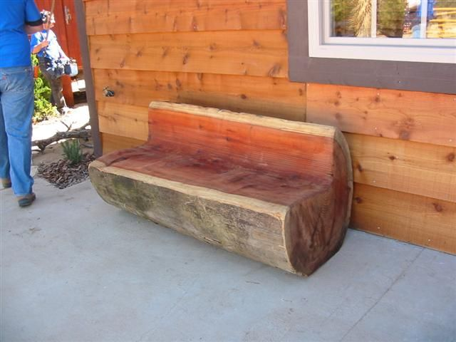 Carved log bench redwood that chainsaw jack