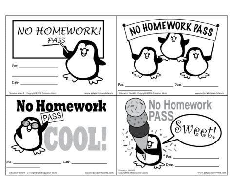 Education World: No Homework Pass Template