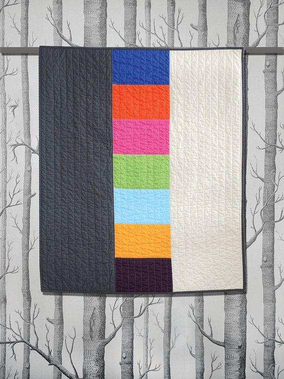 Graphic Modern Baby Quilt - Triptych Multi