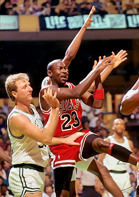 Michael Jordan Picture: Jordan and Larry Bird in 1990. Picture 6. Photo by Steve Lipofsky