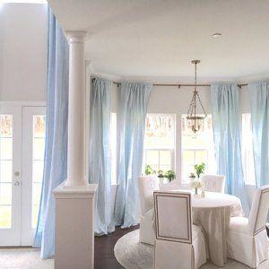 Champagne dupioni silk curtain and Porcelain Blue dupioni silk valance