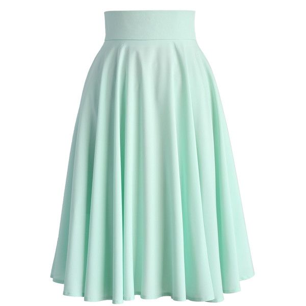 Chicwish Creamy Pleated Midi Skirt in Mint ($42) ❤ liked on Polyvore featuring skirts, green, mid calf skirt, mint green pleated skirt, pleated skirt, midi skirt and polka dot skirt