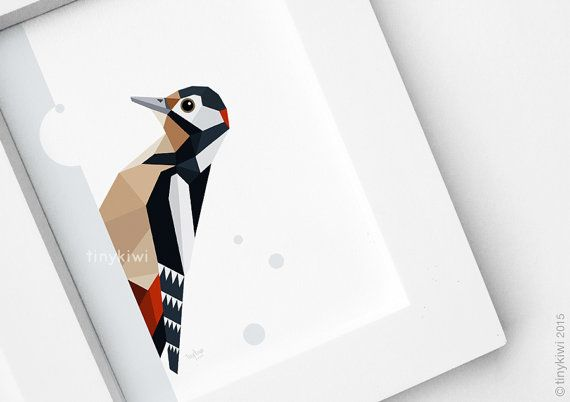 Woodpecker print, Great spotted woodpecker, Geometric print, European birds…