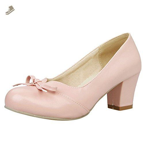 Charm Foot Women's Elegant Bows Chunky Mid Heel Pump Shoes (5, Pink) - Charm foot pumps for women (*Amazon Partner-Link)