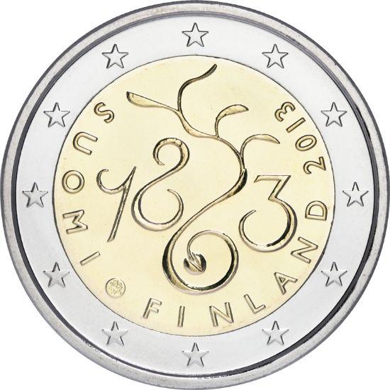 """Kahden euron erikoisraha """"Valtiopäivät 1863"""" Proof kotelossa"""