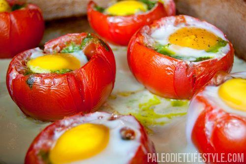 Breakfast! Egg and Pesto Stuffed Tomatoes