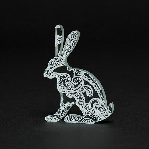 White Paisley Hare Glass Sculpture