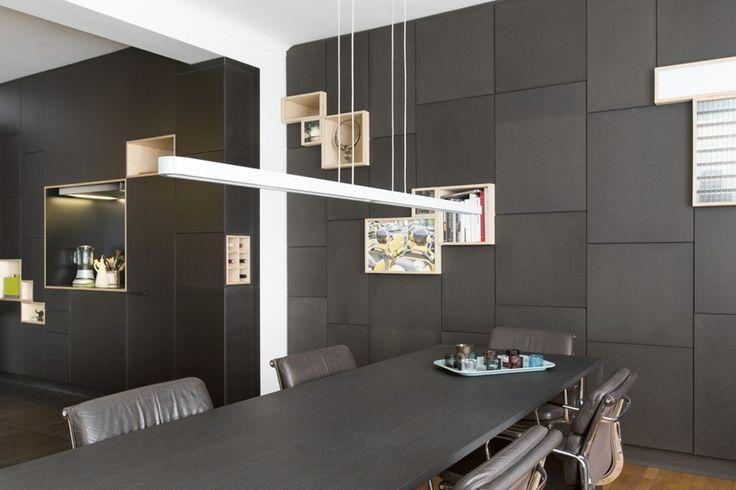 25 beste idee n over zwarte keukenkastjes op pinterest gekleurde keukenkasten zwarte keukens - Deco lounge open keuken ...