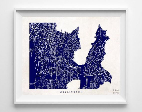 Wellington Map New Zealand Poster Print Beautiful by InkistPrints