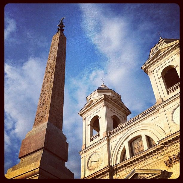 Trinita Dei Monti, And The Obelisk At The Top Of The Spanish Steps. Photo