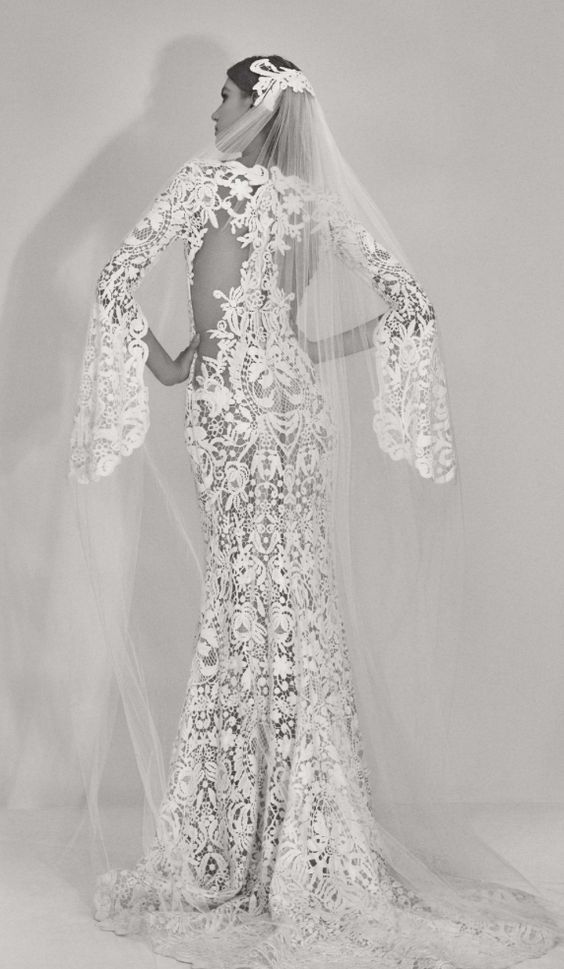 Unique Belle Sleeve Lace Embroidered Wedding Dress
