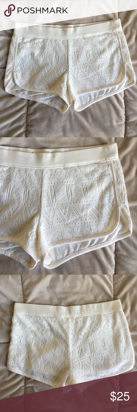 Cream crochet, dolphin knit shorts New without tags, never worn Hollister Shorts