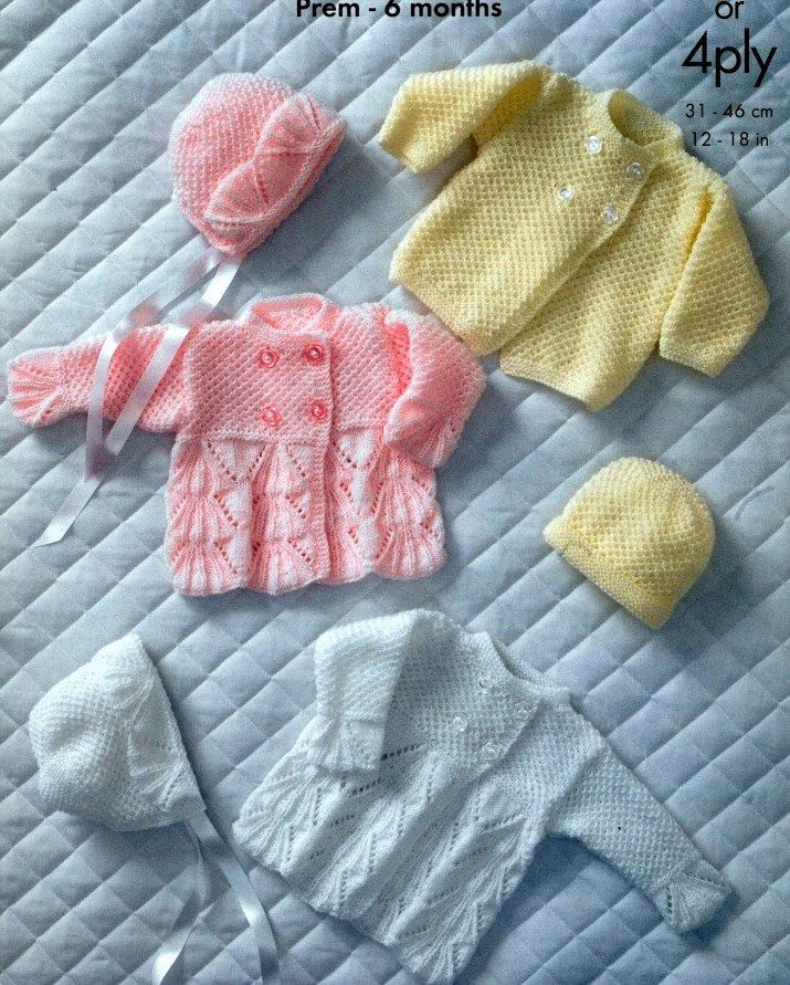 BABY KNITTING PATTERN Baby Bebe Prem sizes to 6 by carolrosa
