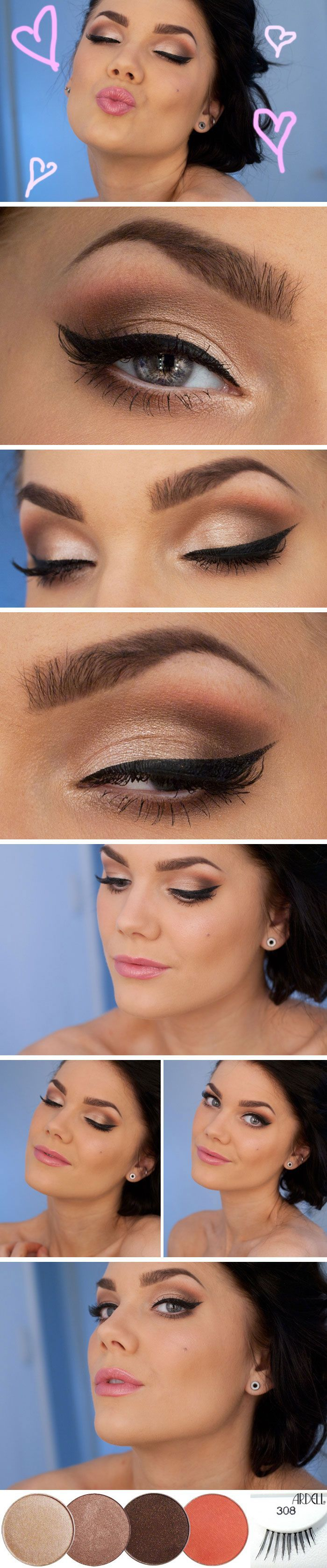 DIY :: Valentine's Day Makeup by Linda Hallberg :: CLICK for product list...using MakeupGeek shadows (4, shown) & some eyeprimer, eyeliner & Ardell 308 lashes (shown) which are just the halfers. Very pretty! | #nyheter24