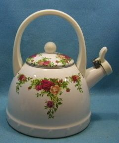 This is a METAL Royal Albert teapot, but I love it anyway!
