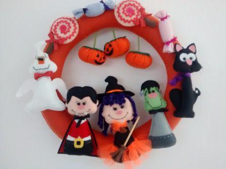 Resultado de imagen para guirlandas de halloween com feltro