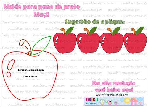 Patchwork moldes maçã em patch aplique | Drika Artesanato - Dicas e sugestões sobre artesanato.