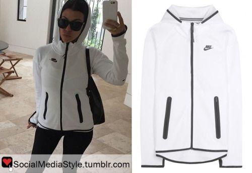 Buy Kourtney Kardashian's White and Black Nike Fleece Hoodie, here!