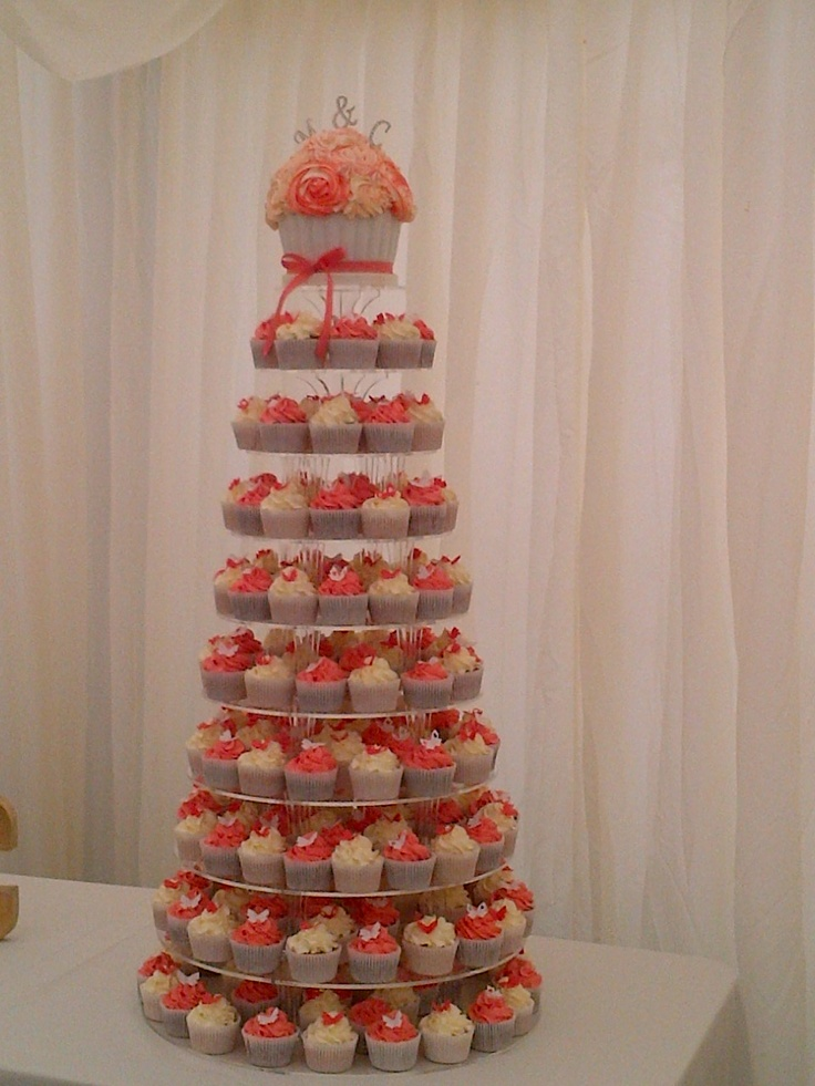Coral And White Cupcakes My Coral And Gray Wedding
