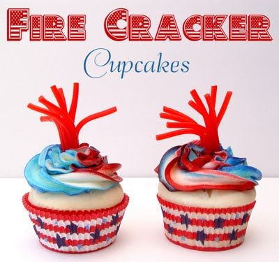 Fire Cracker Cupcakes: July Cupcakes, Fire Crackers, 4Thofjuly, 4Th Of July, July 4Th, July Ideas, Firecracker Cupcakes, Cupcake Idea