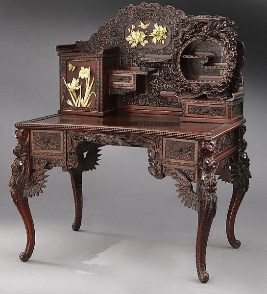 Online View Images And See Past Prices For Ornate Highly Carved Anese Desk Chair Invaluable Is The World S Largest Marketplace Art