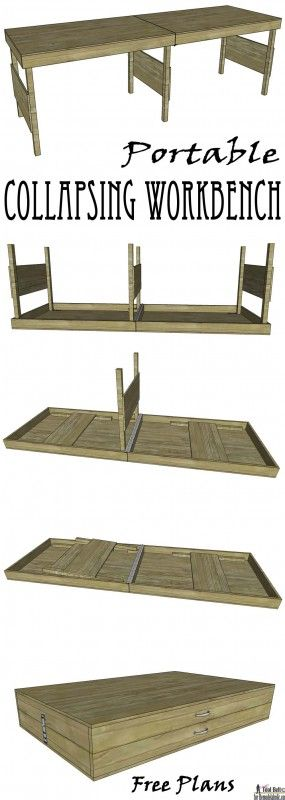 Necesitas un poco de espacio de trabajo adicional en el garaje o en el patio?  Construir el banco de trabajo portátil perfecto con estos planes de DIY.