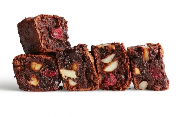 Deluxe brownies - These deluxe brownies are a revelation, packed with fresh raspberries, dark and white chocolate and macadamias.