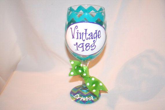 Vintage 1983 30th Birthday Wine Glass Chevron Monogram Personalized Custom Name 30 Birthday