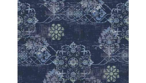 Tapijt Bonaparte Vintage 134.201 blauw: Stoer tapijt met moderne patronen 400 cm breed, p/mtr: